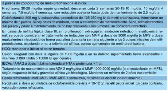 Protocolo de tratamiento nefritis Lúpica